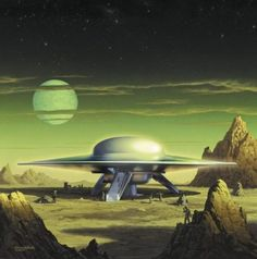Retro-Future, Science Fiction, Space Fiction, Forbidden Planet - United Planets Cruiser on planet Altair IV Arte Sci Fi, Sci Fi Art, Sci Fi Kunst, Batman Christian Bale, Science Fiction Kunst, Classic Sci Fi, Aliens And Ufos, Alien Art, Sci Fi Movies