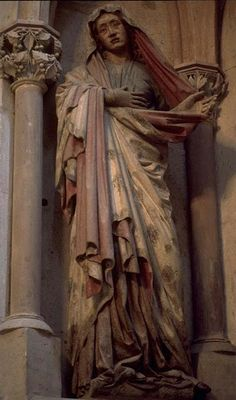 Attributed to the Master of Naumburg, Sorrowing Virgin Mary; left figure from central Crucifixion group, West Choir (Rood) Screen, Cathedral of St. Peter and St. Paul, Naumburg (Saxony-Anhalt), Germany
