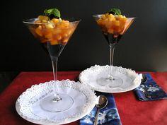 Macedonia de Frutas al Cava Martini, Tableware, Marmalade, Dishes, Deserts, Dinnerware, Tablewares, Martinis, Place Settings