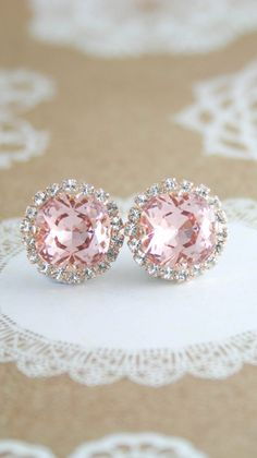 Blush earrings | blush wedding | rose gold wedding | blush bridal earrings | blush bridesmaid earrings | swarovski blush | www.endorajewellery.etsy.com
