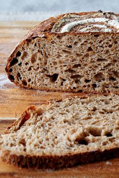 Homemade whole wheat sourdough bread with incredibly open and soft crumb, and a . - Homemade whole wheat sourdough bread with incredibly open and soft crumb, and a pleasant mild acidity. Sourdough Whole Wheat Bread Recipe, Sourdough Recipes, Artisan Bread Recipes, Banana Bread Recipes, Rock Crock Recipes, Soup Recipes, Bread Starter, Baking Stone, Bread Baking