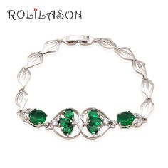 Fresh Deep green Peridot Zircon personality bracelets  Silver filled birthday gift  fashion  jewelry TB561 wholesale price