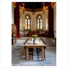 classic dining room of a converted church