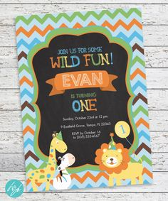 Make one special photo charms for your pets, compatible with your Pandora bracelets. Jungle Animals Birthday Invitation Zoo Lion by FlairandPaper Lion Birthday, Animal Birthday, Boy First Birthday, First Birthday Parties, First Birthdays, Birthday Ideas, Jungle Party, Safari Party, Animal Party