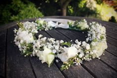 White floral crown. Lisianthus, Daisies, Gypsophila, spray Roses