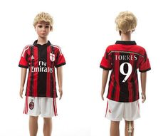 AC milan home kids 9-14-15 Season Soccer Jerseys