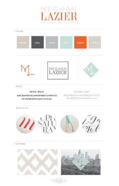 Like these colors A LOT! Greys... plus punch of blue and orange. Meg Laz Brand Board - Saffron Avenue