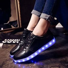 """#heartjacking #ledshoes #lightupshoes #lightupsneakers #ledsneakers These light-up shoes called """"Moonwalk"""" are amazing : the rechargeable LED lights that line the bottom of the shoe can change of color.  Led Shoes Light Up Sneakers White Or Black For by HeartJacKingCaps"""