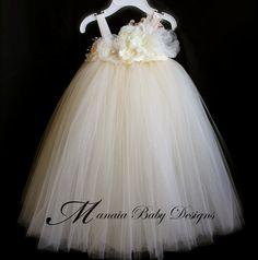 Jordan - Ivory Vintage Tutu Dress / Ivory Flower Girl by ManaiaBabyDesigns, $86.00