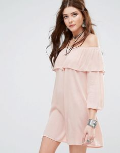 Buy it now. Glamorous Off Shoulder Dress - Pink. Dress by Glamorous, Lightweight woven fabric, Bardot neck, Ruffle top overlay, Relaxed fit, Hand wash, 100% Viscose, Our model wears a UK 8/EU 36/US 4 and is 178cm/5'10 tall. ABOUT GLAMOROUS An eclectic mix of vintage influences and contemporary partywear are at the heart of Manchester based label Glamorous, where individual style is the key. The carefully sourced fabrics and prints channel a fun and youthful vibe into their fashion forward…