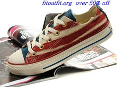 d3ca2502f1d0 Converse American Flag All Star Low Tops Ragged Canvas Beige Gym Red Sea  Blue