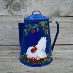 9in tall. VTG BLUE Splatterware COFFEE POT HP HEN CHERRIES Country Rooster Art T.McMurry