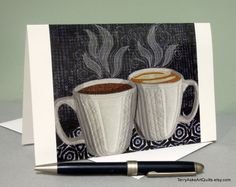 Good Morning art quilt note card by TerryAskeArtQuilts on Etsy