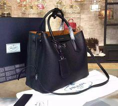 cheap authentic prada bags - Prada Vitello Daino Medium Double Bag, Black/Tan (Nero+Cuoio) on ...