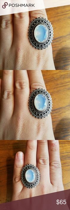 Sterling Silver Milky Opal Ring Beautiful. Size 9.5. Marked 925 (sterling silver)  *Please check your ring size BEFORE ordering! All rings are sized using this ring sizer app. Find your ring size here: http://findmyringsize.com/en/ring-size-scale-as-ring-size-chart-US-sizes.aspx Jewelry