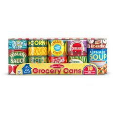 Your little one can stock their pretend kitchen with the Melissa & Doug Let's Play House Grocery Cans. This set of lidded cardboard pretend food cans open and close, fill and stack, and are great for practicing sorting and matching. Pretend Kitchen, Pretend Food, Pretend Play, Toy Kitchen, Role Play, Play Food Set, Melissa & Doug, Fake Food, Dramatic Play