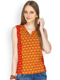 100% COTTON SLEEVELESS MULTICOLOR PRINTED BODY WITH RED SOLID CORD PIPING - See more at: http://www.namakh.com/FUSION-TOP/MULTICOLOR-PRINTED-TOP-id-1172062.html#sthash.edffcjvq.dpuf