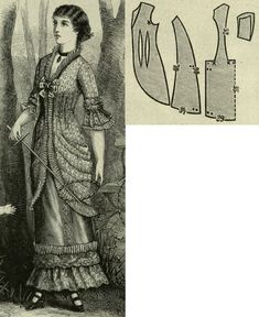 Mody Paryzkie 1879.: Panier overdress from mille fleur fabric for misses.