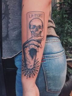 "In tarot Death is not a permanent end, but a transition into a new state. To grow, to move, to live - we must ""die"" to the old to give birth to the new. Done by Minka Sicklinger at Memoir Tattoo, Los Angeles, CA."