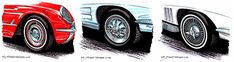 It wasn't until Corvette's season that buyers had any wheel option at all. The to knock-off and knock-off-styled wheels were quite the ticket. Corvette History, Corvette Wheels, Steel Wheels, Corvettes, Ticket, Base, Amazing, Corvette