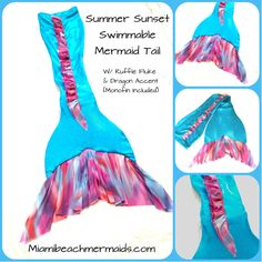 Swimmable Mermaid Tail Summer Sunset W/ by Miamibeachmermaids