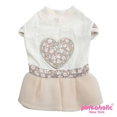 Lovesome Ivory Dog Dress by Pinkaholic