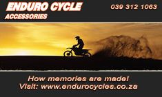Be ready for your next ride.  We strive to supply only top quality motorbike parts and accessories to ensure your complete safety and satisfaction. We have got everything needed to keep you safe on your next ride, from riding kits and gear suitable for all ages and genders, to nutritional supplements and more. Visit our website to view our online store, or give us a call on the number below for any more information.  Phone: 039 312 1063   Email: Info@EnduroCycles.co.za… Motorbike Parts, Riding Gear, Nutritional Supplements, Safety, Number, Website, Phone, Top, Accessories