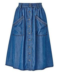 Women's Skirts - Midi, Maxi, Denim & More - - Women's Skirts – Midi, Maxi, Denim & More Fashion & Clothing: Century Skirt Lyocell Button Front Skirt Skirt Outfits Modest, Dress Skirt, Denim Fashion, Look Fashion, Button Front Skirt, Fashion Dresses, Modest Fashion, Mode Style, Ladies Dress Design