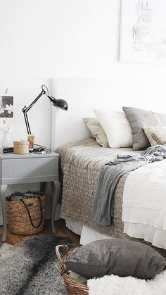 Textured grey and white bedroom