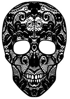 "vinyl lace skull decal 24"" x 14"""
