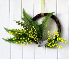 Mimosa wreath spring Easter wreath made in Italy by Ghirlandiamo