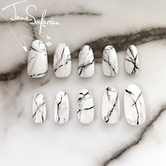 etsy: Reusable White Stone Marble Press-On Nails Set of 24 by jsfrnNailArt #nailart