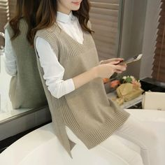 2018 New Arrival Autumn and Winter Women Fashion V-neck Knitting Vest, Korean Style Female El. 2018 New Arrival Autumn and Winter Women Fashion V-neck Knitting Vest, Korean Style Female Elegant Casual All-match Swea. Korean Fashion Trends, Fashion Ideas, Style Fashion, Tunic Pattern, Knit Vest, Loose Sweater, Wool Sweaters, Sweater Coats, Sweater Dresses