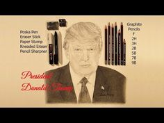 Watch me draw Donald Trump, President of the United States of America, Graphite Pencil Sketching. Donald J. Trump is the and current president of the Un. Current President, Pictures To Draw, Pencil Drawings, Donald Trump, Presidents, Sketch, United States, The Unit, Graphite