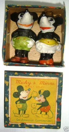 Boxed Mickey & Minnie Mouse bisques (1930's)
