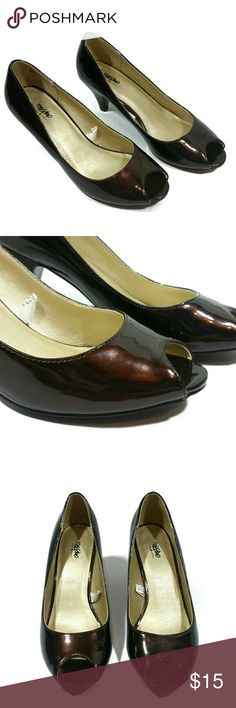 """Mossimo dark brown peep toe heels These peep toe heels are a dark brown/bronze color. The heel is approx 3"""". Size 7. Please note: there is a dent on the back of each heel (see last 2 pics) Mossimo Supply Co. Shoes Heels"""