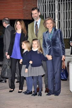 Prince Felipe of Spain, Princess Letizia and their daughters Infanta Leonor (R) and Infanta Sofia (L) and Queen Sofia, visist King Juan Carlos at Milagrosa Hospital on 6 Mar 2013