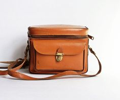 Vintage Leather Camera Case- Tan Retro Satchel- Mid Century on Etsy, $25.00