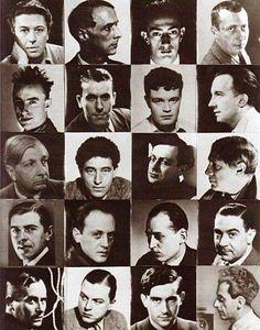 Scacchiera surrealista di Man Ray: Breton, Ernst, Dalí, Arp, Tanguy, Char, Crevel, Eluard, De Chirico, Giacometti, Tzara, Picasso, Magritte, Brauner, Peret, Rosey, Miro, Mesens, Hugnet, Man Ray stesso.