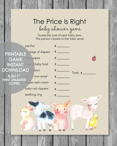 Printable Pass The Prize Baby Shower Game - Woodland Animals Watercolor Theme - Print It Baby Baby Shower Game Prizes, Baby Shower Candy, Baby Shower Bingo, Baby Shower Party Supplies, Baby Shower Activities, Girl Shower, Baby Shower Parties, Baby Showers, Free Baby Shower Printables