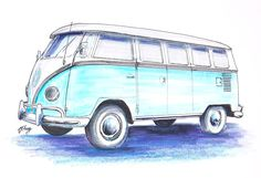 Vw Drawing - Vw Bus by Terence John Cleary