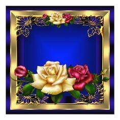 Shop Royal Blue Red Cream Roses Gold Elegant Birthday 7 Invitation created by Zizzago. Elegant Birthday Party, Gold Birthday Party, Birthday Parties, Birthday Photo Frame, Birthday Photos, 80th Birthday Invitations, Zazzle Invitations, Royal Wallpaper, Screen Wallpaper