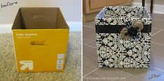 DIY On the Cheap: Fabric-Covered Diaper Box: Cute, Easy Storage. perhaps a 'school box' that each child could decorate at the beginning of the year. Diy Storage Boxes, Cheap Storage, Easy Storage, Fabric Storage, Diaper Box Storage, Paper Storage, Extra Storage, Craft Storage, Storage Ideas