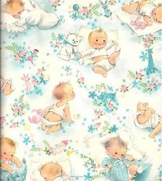 vintage gift wrapping paper  slumbering babies baby shower wrap, Baby shower invitation
