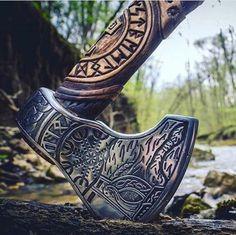 Handmade Viking Axe - Odin + Helm of Awe Viking Halloween Costume, Vikings Halloween, Vikings Fancy Dress, Celtic, Viking Character, Tomahawk Axe, Viking Life, Battle Axe, Vegvisir