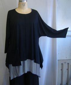 "*cut Coco Juan Plus Size Lagenlook Black Knit Angled Shirt OS Fits 1x 2X 3X B 60""   eBay"