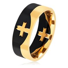 Men's West Coast Jewelry Men's Two Tone Stainless Steel Center Cross... ($16) ❤ liked on Polyvore featuring men's fashion, men's jewelry, men's rings, jewelry & watches, rings, mens rings, mens two tone wedding rings, mens wide band rings, mens stainless steel rings and mens cross ring