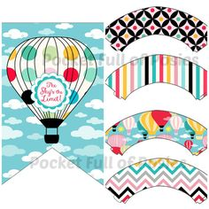Hot Air Balloon Birhday Decorations Boys or Girls Party Pack Package Digital Download Printable DIY Clouds Colorful- banners, centerpieces,