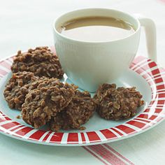 Stir together  2 cups quick-cooking oats, uncooked   2/3 cup peanut butter   1/4 cup cocoa   1 teaspoon vanilla extract   boil the following:  2 cups sugar   1/2 cup milk  1/4 cup butter  pour over top items, stir, drop by teaspoonfuls on to baking sheet!
