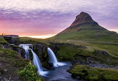 Kirkjufell mountain at sunset time in summer, Iceland